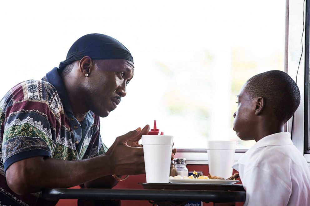 PHOTO: Mahershala Ali, left, and Alex Hibbert in a scene from, Moonlight.