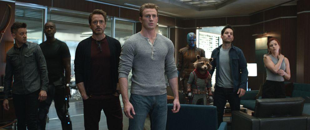 """PHOTO: From left, Jeremy Renner, Don Cheadle, Robert Downey Jr., Chris Evans, Karen Gillan, the character Rocket, voiced by Bradley Cooper, Paul Rudd and Scarlett Johansson in a scene from """"Avengers: Endgame."""""""