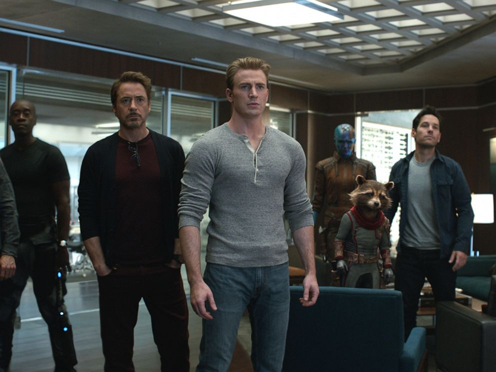 PHOTO: From left, Jeremy Renner, Don Cheadle, Robert Downey Jr., Chris Evans, Karen Gillan, the character Rocket, voiced by Bradley Cooper, Paul Rudd and Scarlett Johansson in a scene from Avengers: Endgame.
