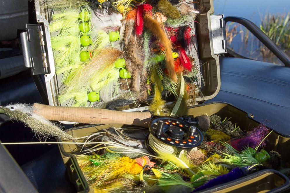 Captain Mark Benson's fishing supplies.