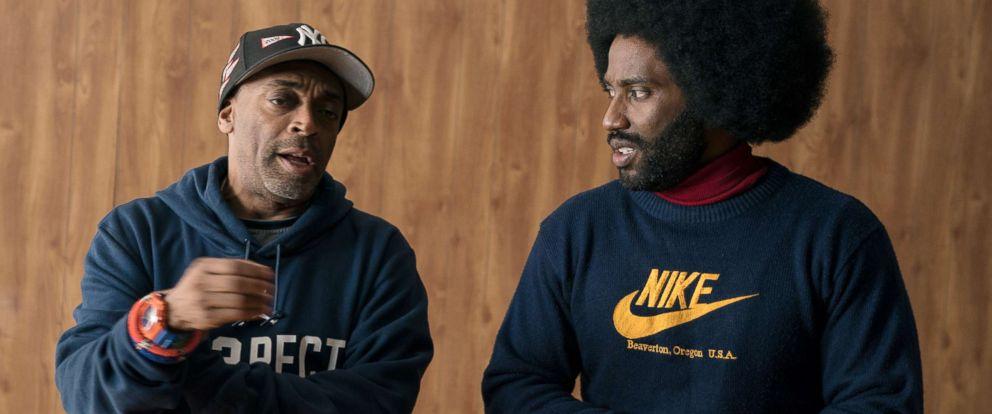 "PHOTO: Director Spike Lee and actor John David Washington on the set of the film, ""BlacKkKlansman."""