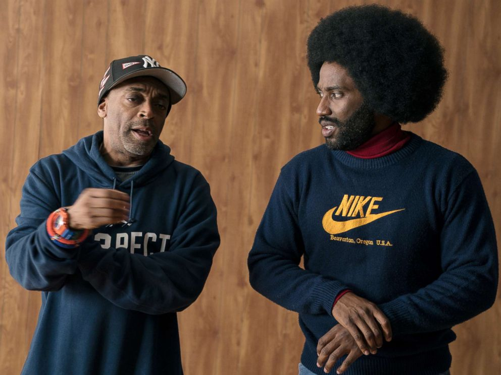 PHOTO: Director Spike Lee and actor John David Washington on the set of the film, BlacKkKlansman.