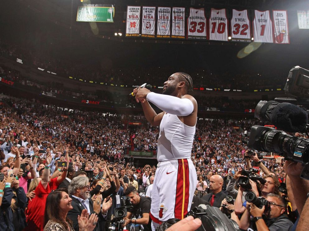 PHOTO:Dwyane Wade of the Miami Heat thanks the crowd after the game against the Philadelphia 76ers on April 9, 2019 at American Airlines Arena in Miami, Fla.