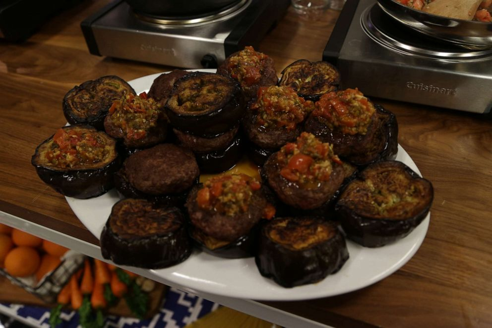 PHOTO: Burgers with eggplant disk buns made by Alex Guarnaschelli.