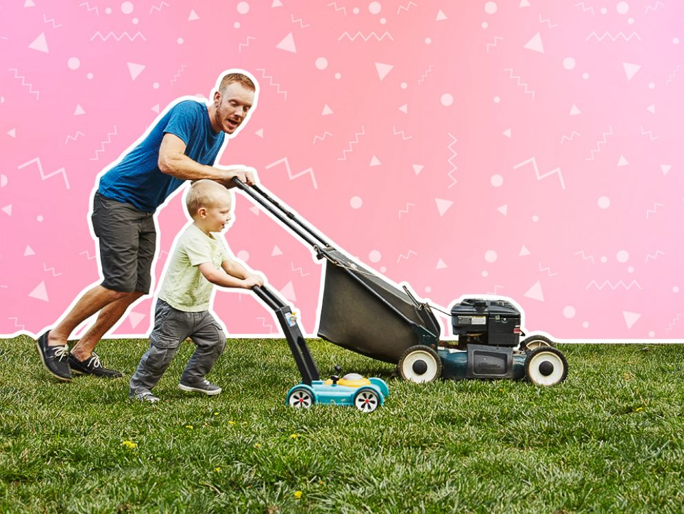 PHOTO: Father Son Lawn Mower