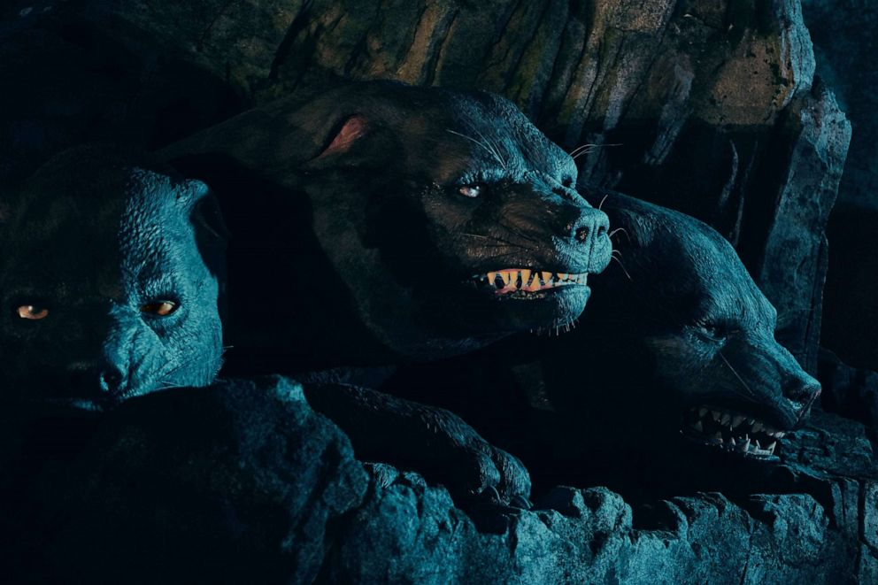 PHOTO: Fluffy, the Three-Headed Dog in Hagrids Magical Creatures Motorbike Adventure.