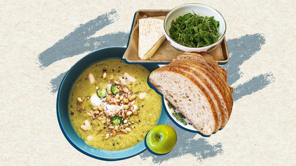 How to make Drew Barrymore and chef Pilar Valdes' tomatillo soup and grilled cheese