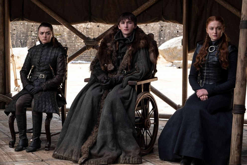 PHOTO: Maisie Williams, Isaac Hempstead Wright and Sophie Turner in Game of Thrones.