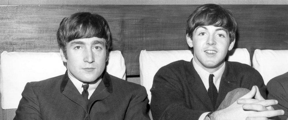 PHOTO Members Of The Beatles John Lennon Left And Paul McCartney Are
