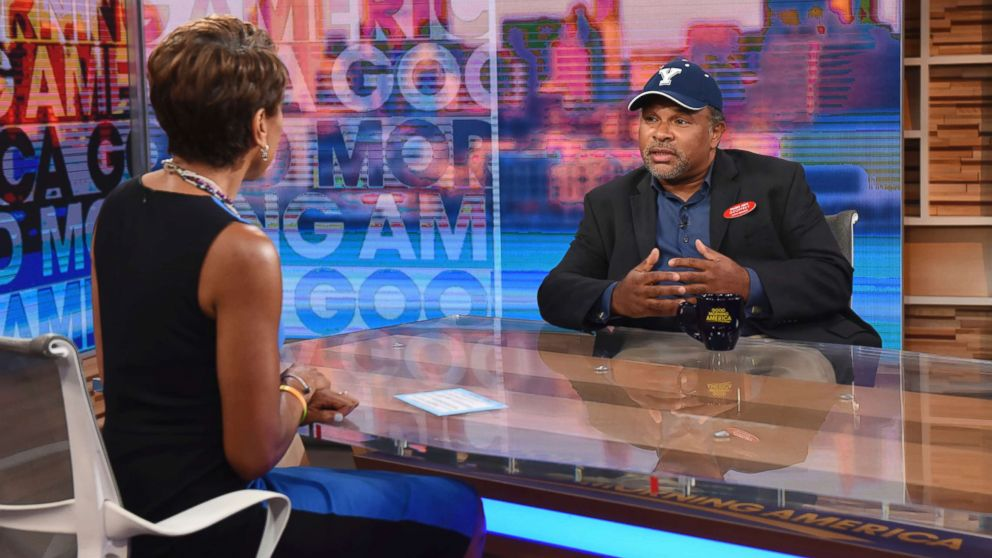 """""""The Cosby Show"""" actor Geoffrey Owens speaks to Robin Roberts during an interview on """"Good Morning America,"""" Tuesday, Sept. 4, 2018, in New York."""