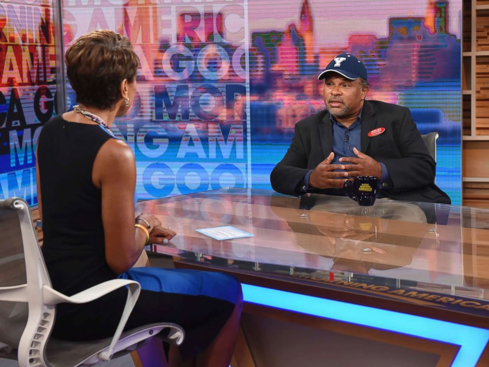 PHOTO: The Cosby Show actor Geoffrey Owens speaks to Robin Roberts during an interview on Good Morning America, Tuesday, Sept. 4, 2018, in New York.