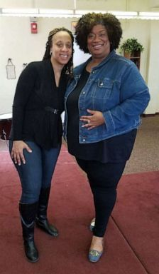 PHOTO: Keasha Hawkins and her friend Claudette in February 2017 when she lost her first 50-pounds during her weight loss journey.