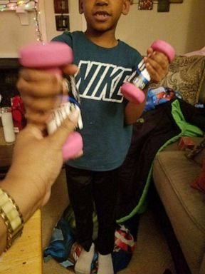 PHOTO: Keasha Hawkins son Kijuan, 8, gave her pink weights for Christmas.