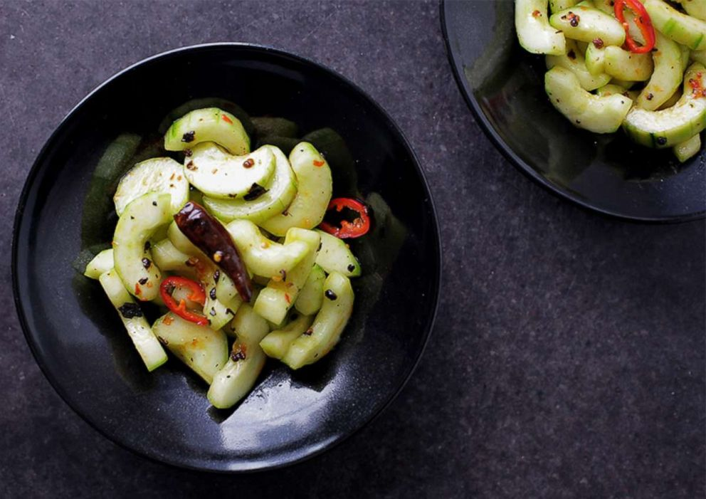 PHOTO: Chengdu-style hot and cold cucumber salad.
