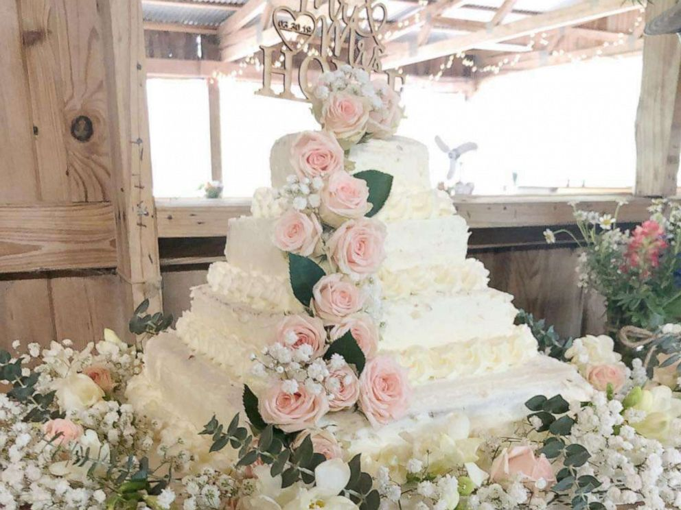 PHOTO: A wedding cake made from white sheet cakes from Costco and fresh flowers from Trader Joes.
