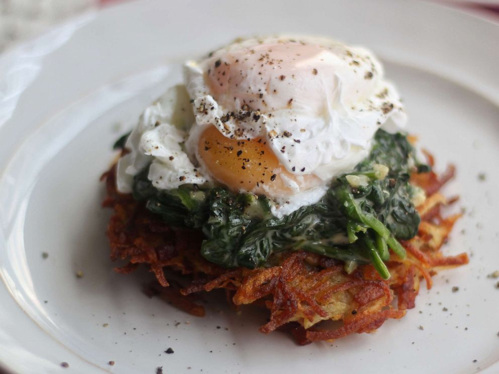 PHOTO: Eggs Florentine over crispy potato cakes is a perfect Mothers Day breakfast dish.