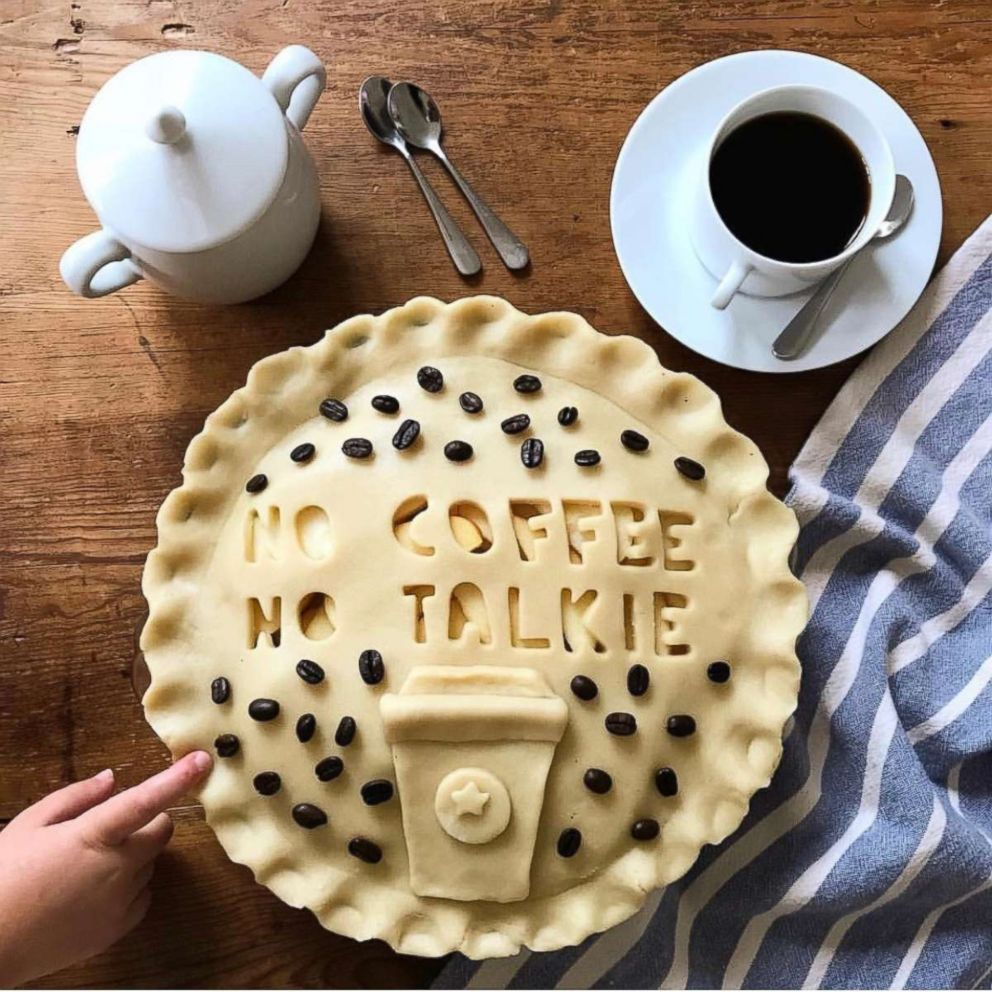 A homemade pie crust made by Marie Saba with a relatable quip about morning coffee.