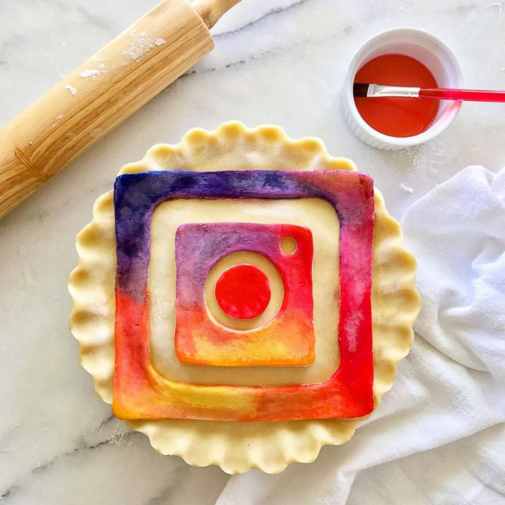 PHOTO: A hand-painted Instagram logo pie crust made by Marie Saba.