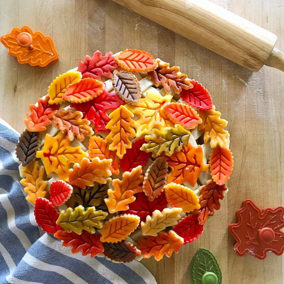 An intricate Fall crust with painted leaves made by Marie Saba.