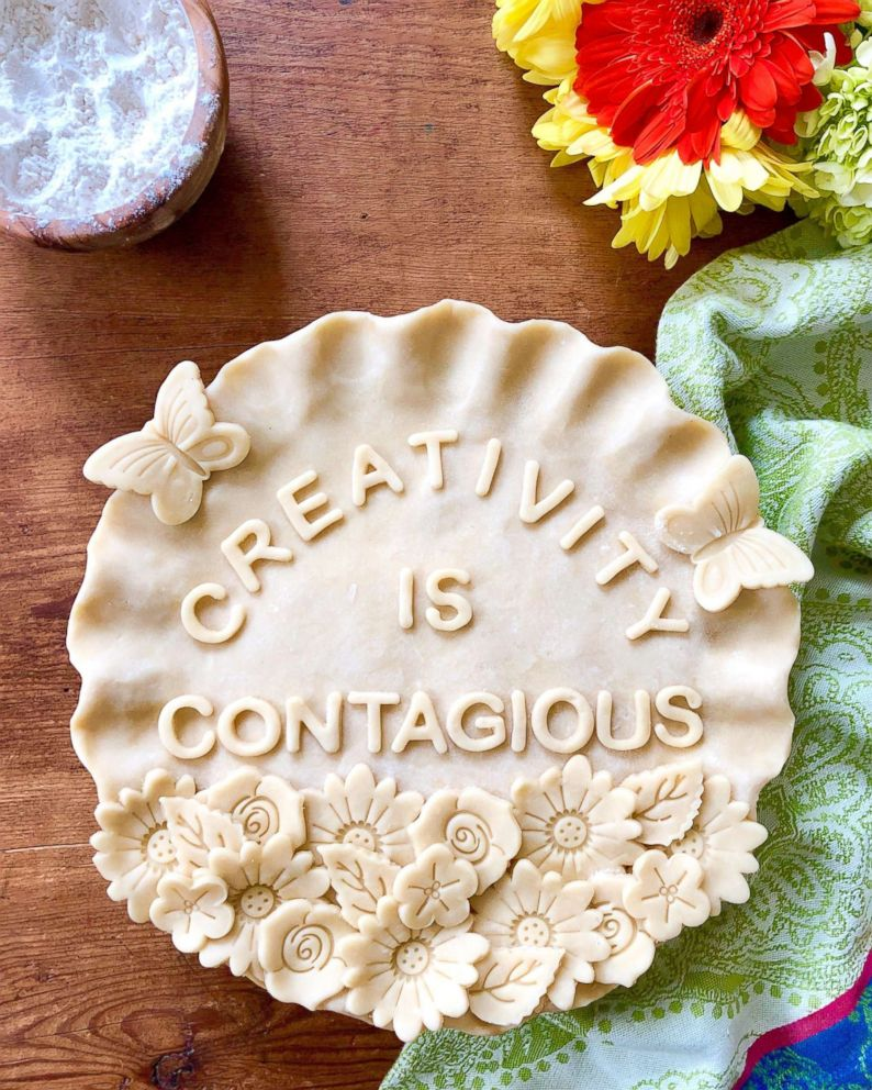 PHOTO: This homemade pie from Marie Saba highlights her creative pie crusts.