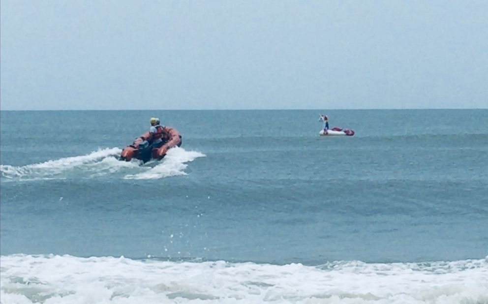 PHOTO: The Oak Island Water Rescue team helped get to an 8-year-old boy stranded on an inflatable swan who drifted out to sea.