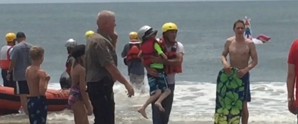 PHOTO: The Oak Island Water Rescue team helped get an 8-year-old boy stranded on an inflatable unicorn safely back to shore.