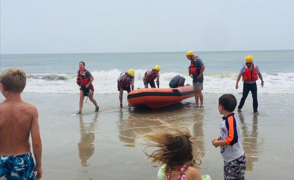 PHOTO: The Oak Island Water Rescue team saved an 8-year-old boy stranded on an inflatable swan who drifted out to sea.