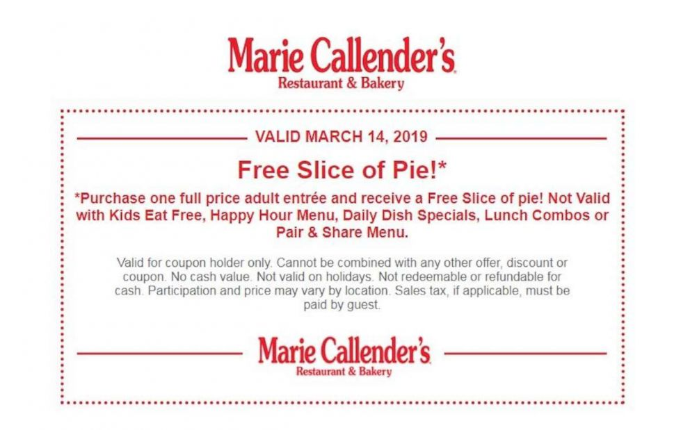 PHOTO: A Pi Day deal from Marie Callenders Restaurant and Bakery.