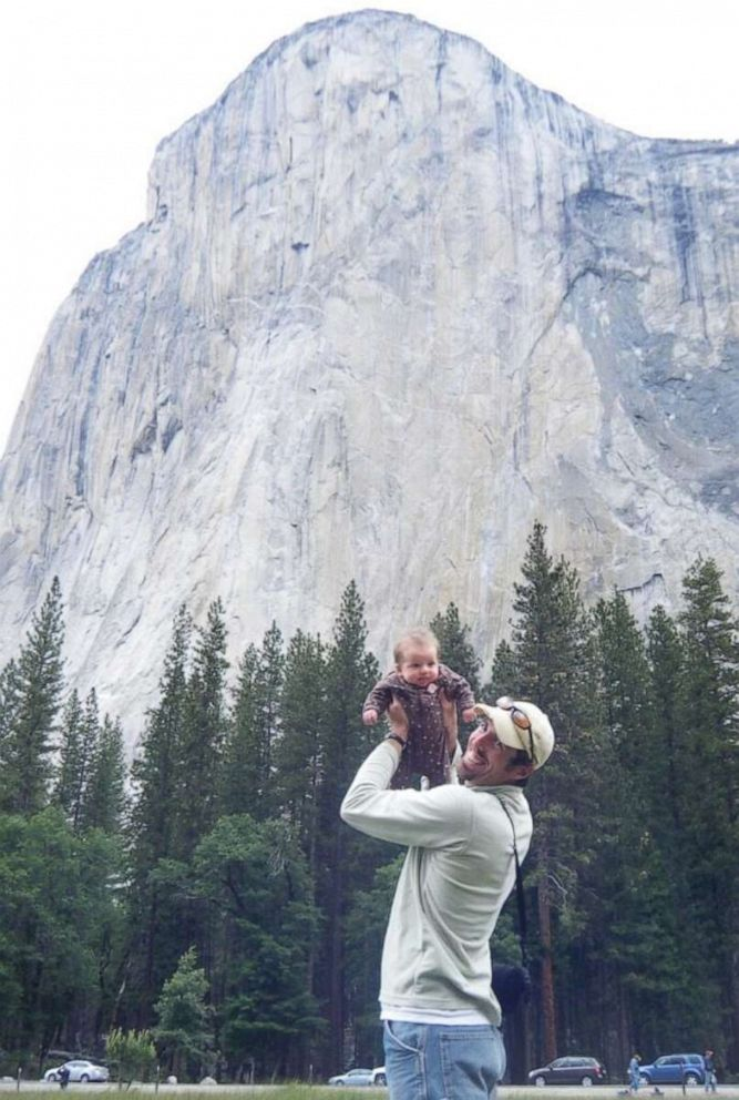 PHOTO: Mike Schneiter with Selah Schneiter as a baby at Yosemite National Park in California.