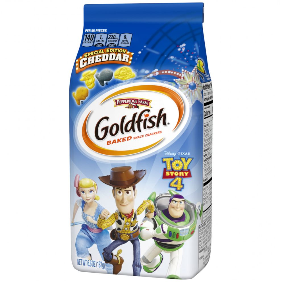 PHOTO: The new limited-edition Toy Story 4 Goldfish crackers feature Buzz and Woody.