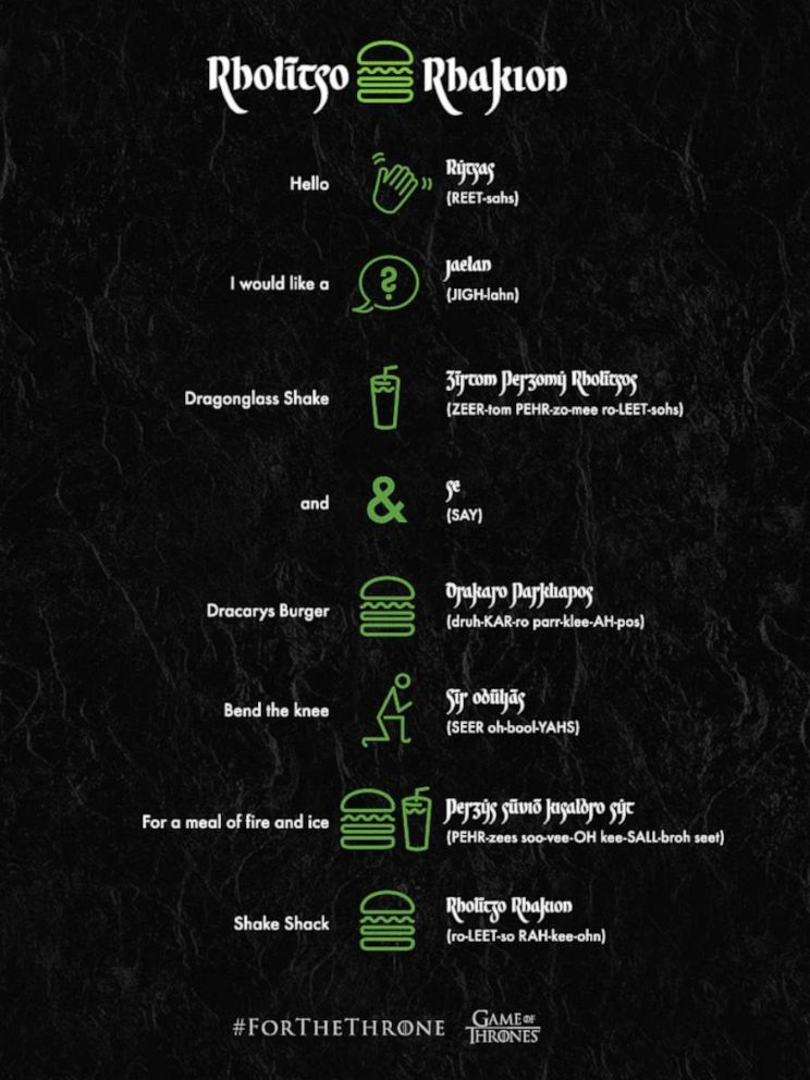 PHOTO: Shake Shacks Valyrian translation guide inspired by the upcoming final season of Game of Thrones.