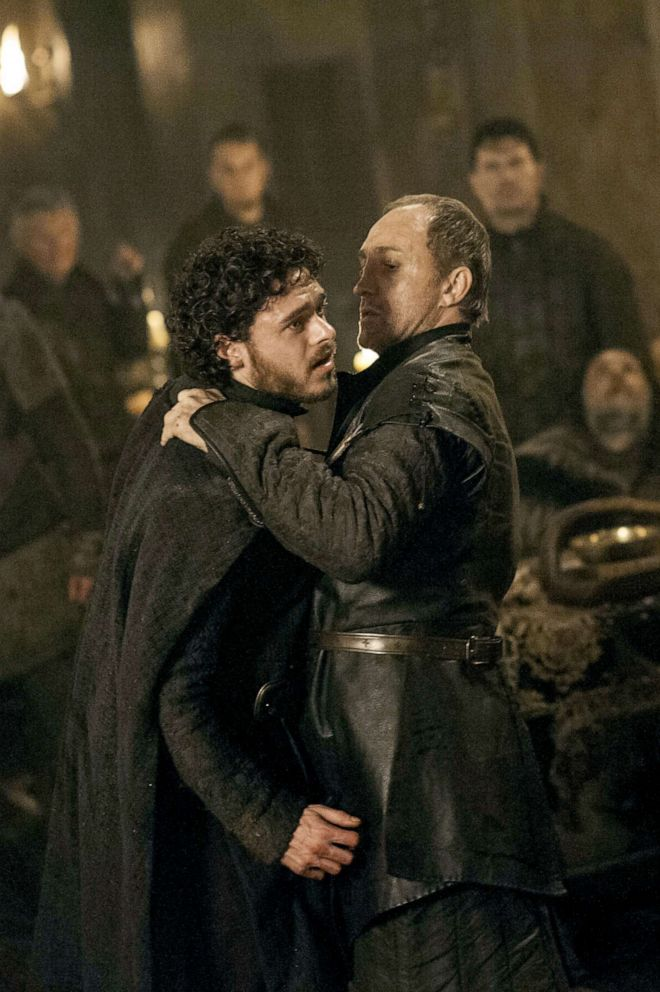 Richard Madden, left, as Robb Stark and Michael McElhatton as Roose Bolton in a scene from 'Game of Thrones.'