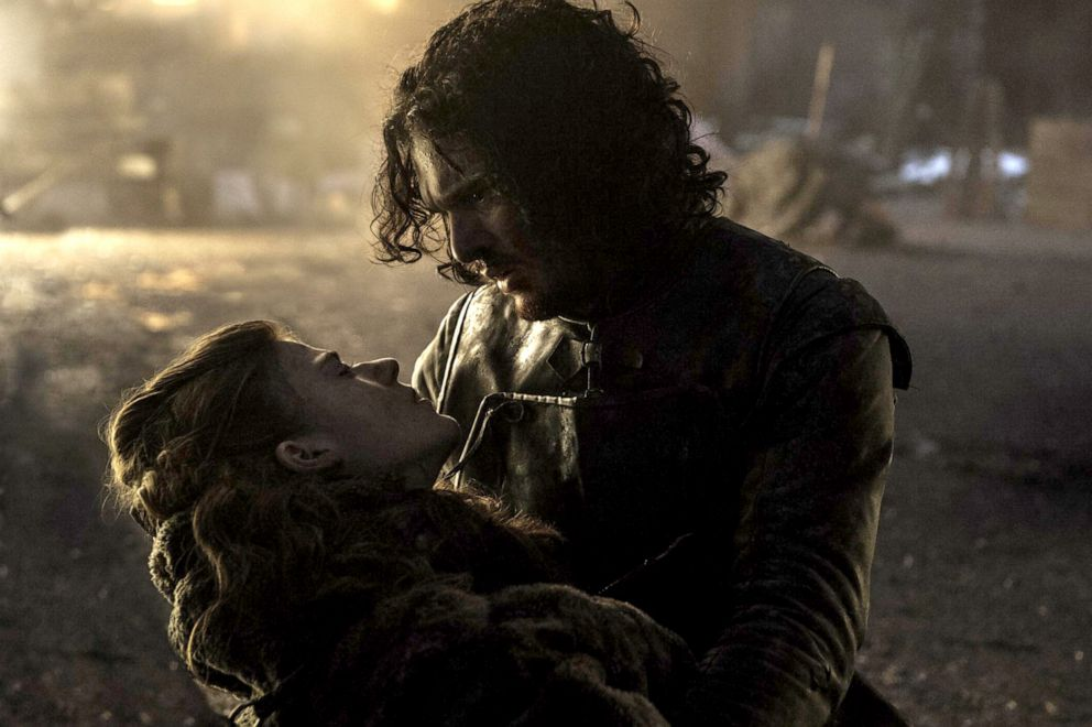 Rose Leslie, left, as Ygritte, with Kit Harington, as Jon Snow, in a scene from 'Game of Thrones.'