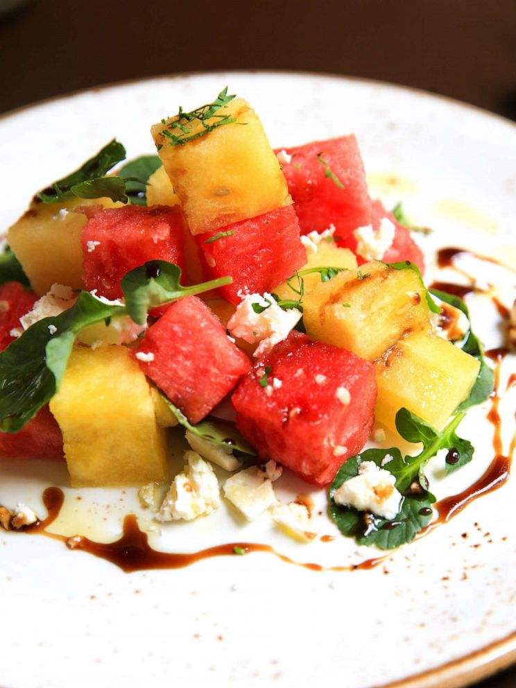 PHOTO: Red and yellow watermelon salad with feta and upland cress.