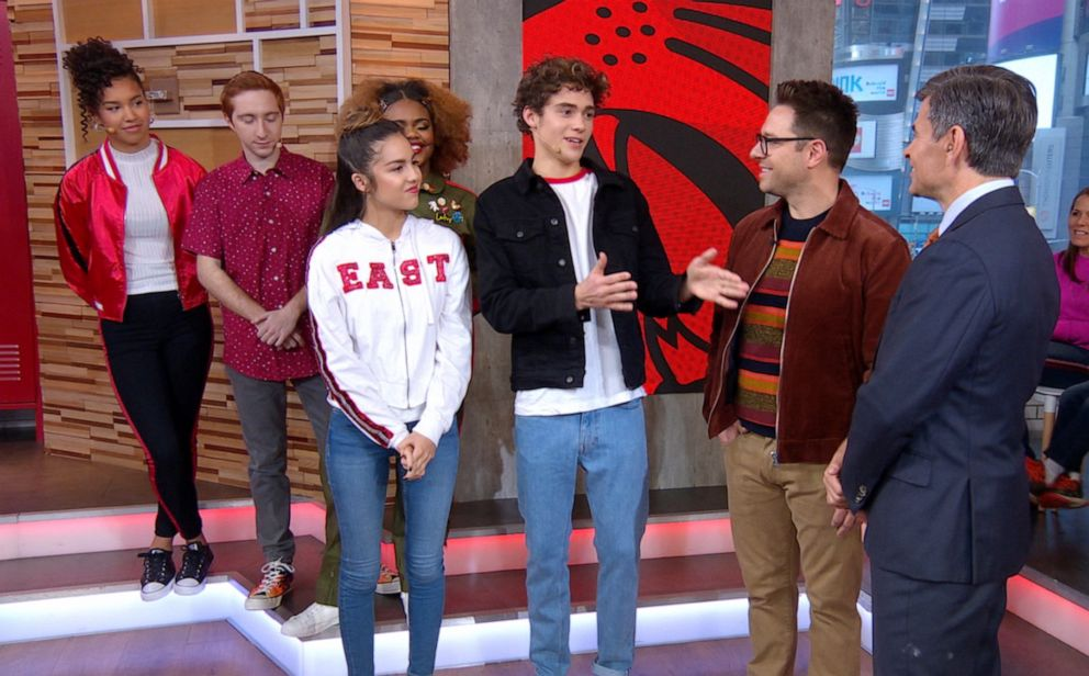 PHOTO: High School Musical: The Musical: The Series stars Olivia Rodrigo and Joshua Bassett alongside executive producer Tim Federle on Good Morning America, Nov. 8, 2019.