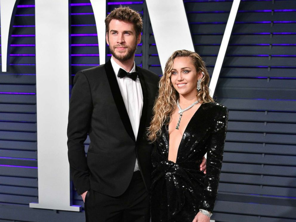 PHOTO: Liam Hemsworth and Miley Cyrus attend the 2019 Vanity Fair Oscar Party hosted by Radhika Jones at Wallis Annenberg Center for the Performing Arts, Feb. 24, 2019, in Beverly Hills, Calif.