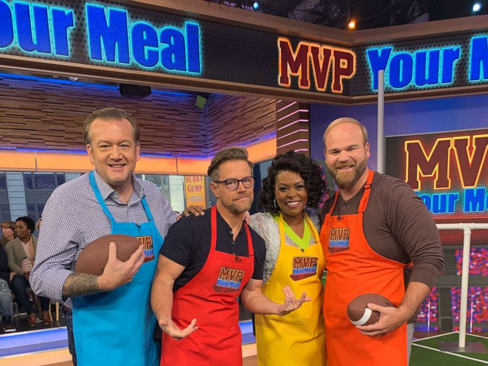 PHOTO: Chef Michael White, chef and host of podcast Starving For Attention, Richard Blais, chef Jamika Pessoa and chef Jean-Paul Bourgeois on GMA.
