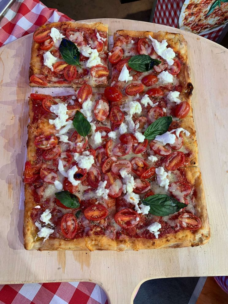 PHOTO: Neapolitan pizza topped with basil and tomatoes made by Donatella Arpaia.