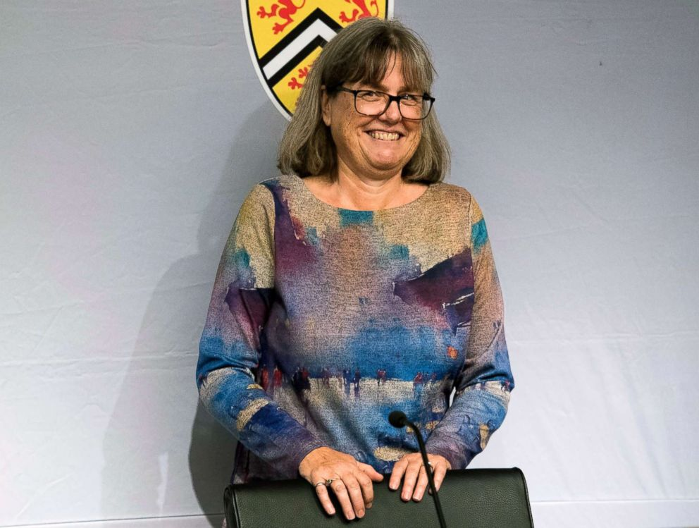 Noble Prize winner Donna Strickland smiles as she receives a standing ovation before speaking to the media during a press conference regarding her prestigious award in Waterloo, Ontario, Oct. 2, 2018.