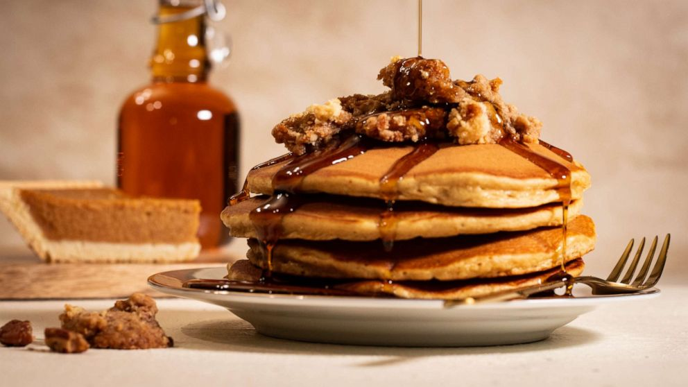 Leftover pumpkin pie is the main ingredient for these decadent pancakes
