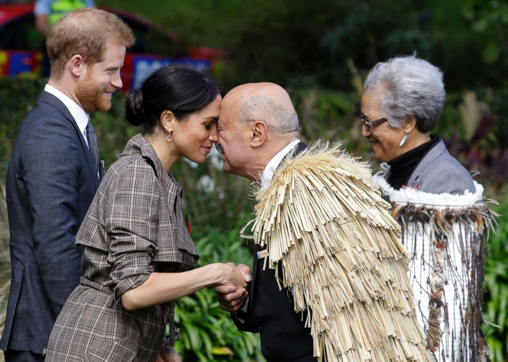 PHOTO: Me   ghan, Duchess of Sussex receives a hongi a traditional Maori welcome on the lawns of Government House in Wellington, New Zealand, Oct. 28, 2018.