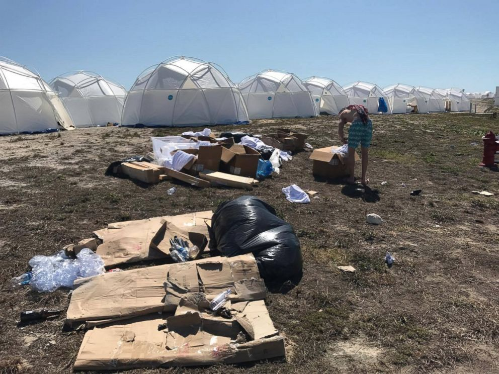 PHOTO: A general view from the Fyre Festival in the Bahamas shows a trashy campsite with temporary shelters, April 28, 2017.