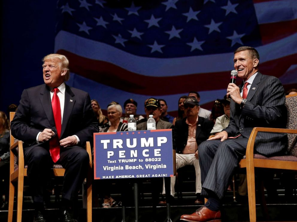 PHOTO: Republican presidential nominee Donald Trump speaks alongside retired U.S. Army Lieutenant General Mike Flynn during a campaign town hall meeting in Virginia Beach, Va., Sept. 6, 2016.