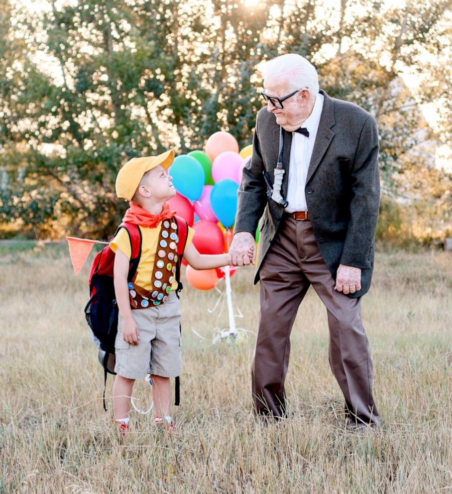 PHOTO: 5-year-old Elijah Perman poses next to his great-grandpa Richard in an Up-themed photoshoot.
