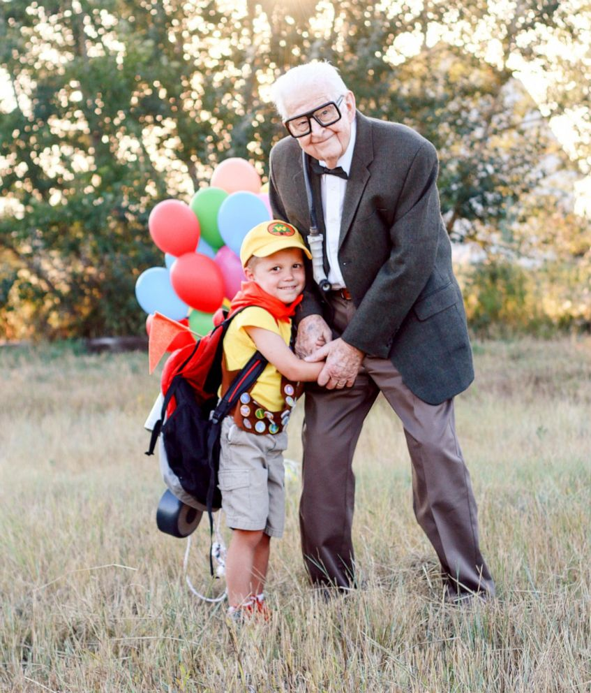 PHOTO: 5-year-old Elijah Perman poses next to his great-grandpa Richard in an Up-themed photoshoot for his 5th birthday.