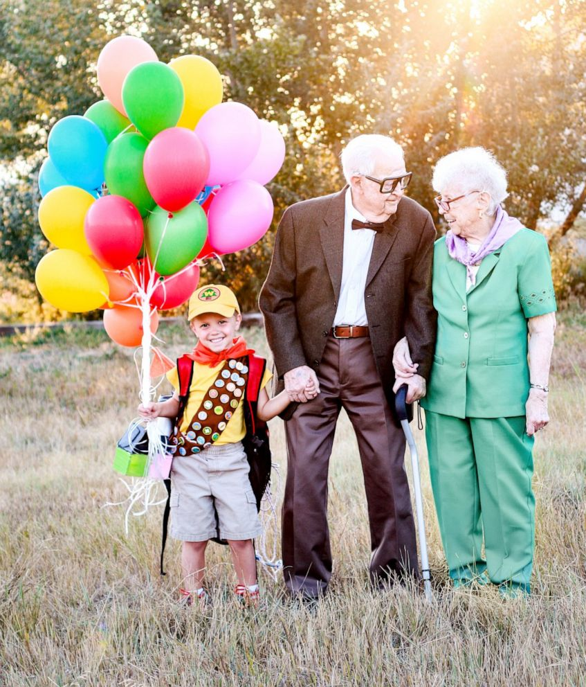PHOTO: 5-year-old Elijah Perman poses next to his great-grandpa Richard and great-grandma Caroline in an Up-themed photoshoot.