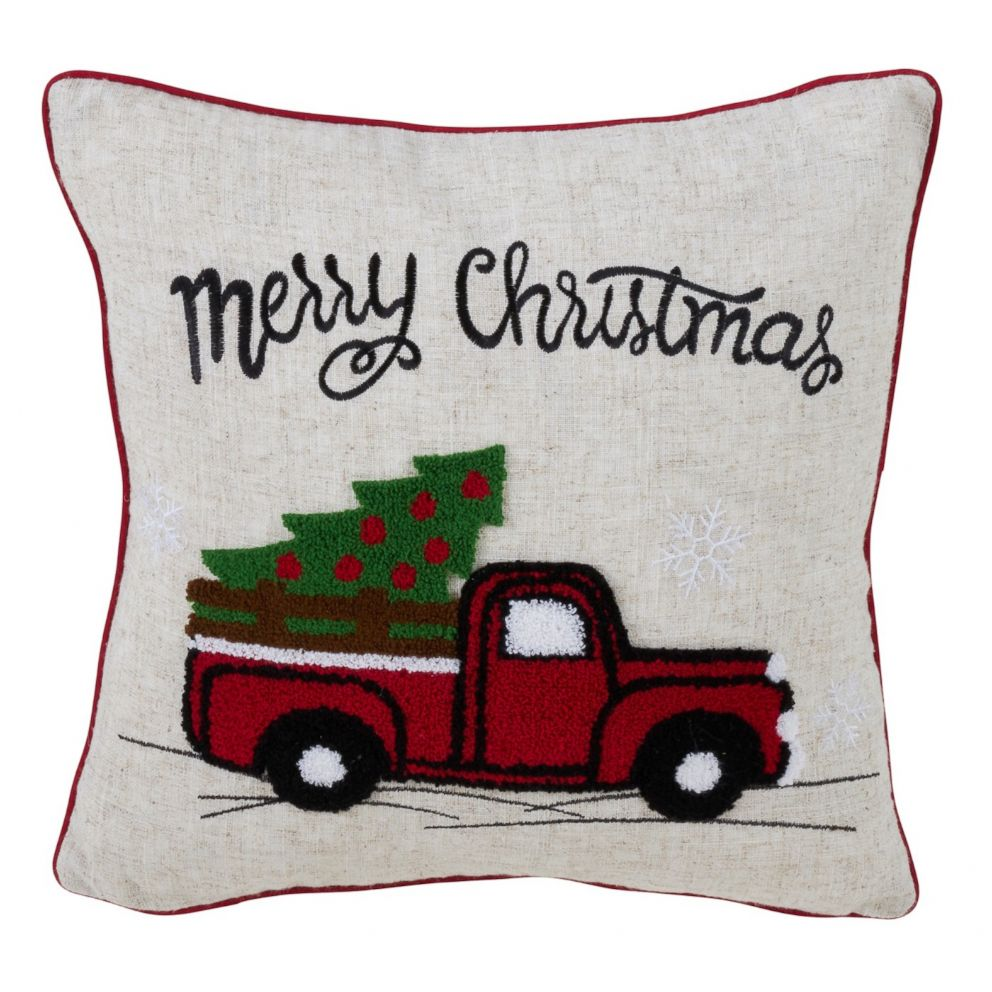 PHOTO: Vintage Red Truck Holiday Square Throw Pillow Tan