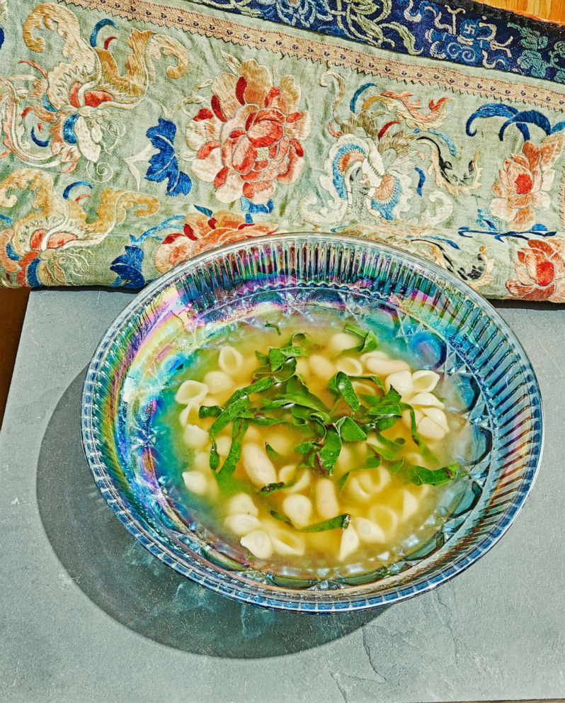 PHOTO: Parmesan broth with greens, beans and pasta from the Waste Not cookbook.