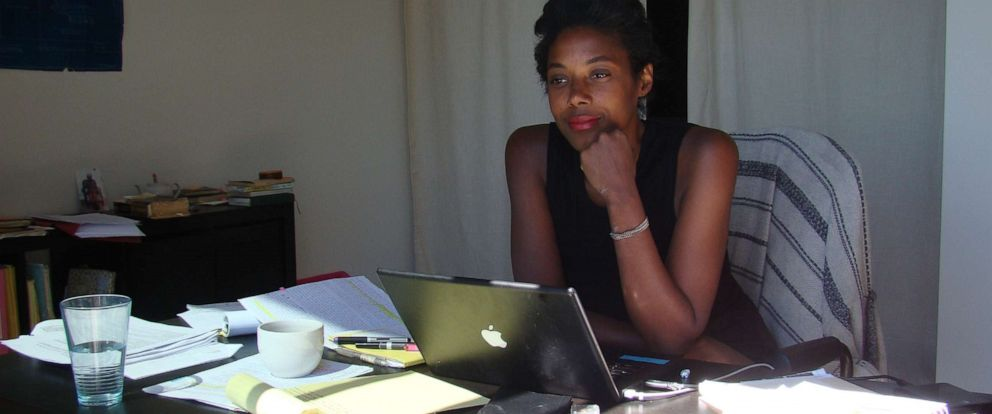 """PHOTO: Author Sarah M. Broom is pictured here working on her book, """"The Yellow House."""""""