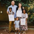 The Zezulka family on the day their children were adopted.